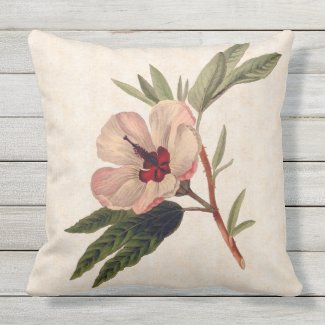Pink Tropical Hibiscus Outdoor Pillow
