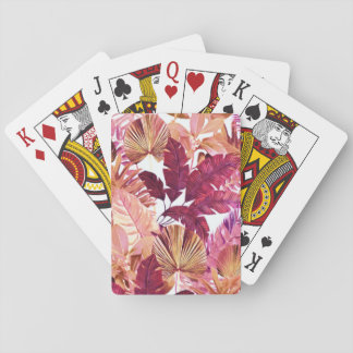 Pink Tropical Leaf Pattern Playing Cards