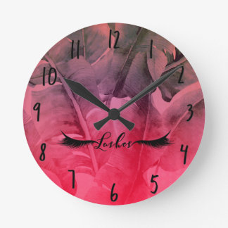 Pink Tropical Leaves Ombre Glam Lashes Salon Round Clock