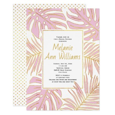 Beach Themed Pink tropical leaves wedding bridal shower card