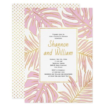 Beach Themed Pink tropical leaves wedding couple's shower card