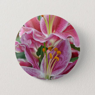 Pink tropical lily flowers pinback button