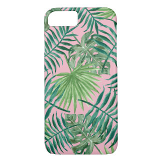 Pink Tropical Palm Leaves iPhone 7 Case