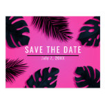 Pink Tropical Palm Leaves Party Save the Date Postcard