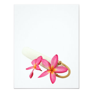 Pink tropical plumeria frangipani flower | DIY Custom Invitation Cards