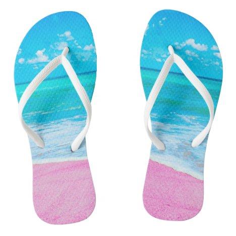 Pink Tropical Sand Beach Flip Flops