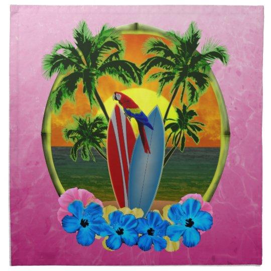 Pink Tropical Sunset Cloth Napkin