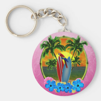 Pink Tropical Sunset Key Chains