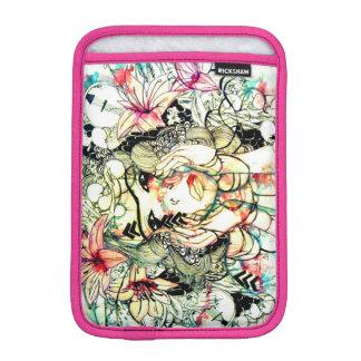 Pink tropical watercolor floral art girl iPad mini sleeves