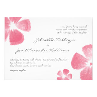 Pink Tropical Watercolor Flowers Wedding Invites