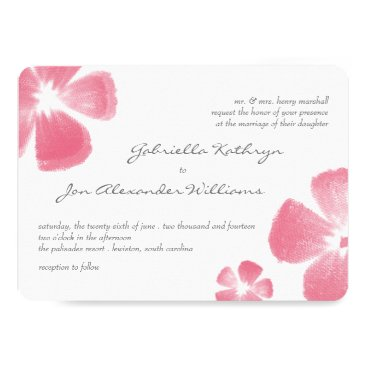 Beach Themed Pink Tropical Watercolor Flowers Wedding Invites