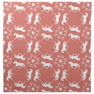 Pink Trotting Horses and Bits Pattern Cloth Napkin