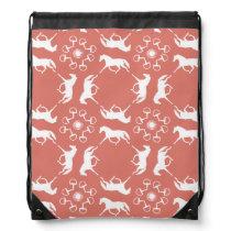 Pink Trotting Horses and Bits Pattern Drawstring Backpack