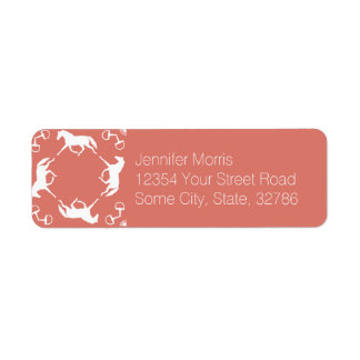 Pink Trotting Horses and Bits Pattern Return Address Label