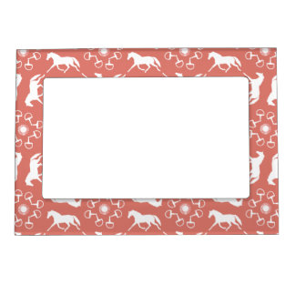 Pink Trotting Horses and Bits Pattern Magnetic Frame