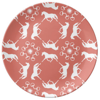 Pink Trotting Horses and Bits Pattern Porcelain Plate