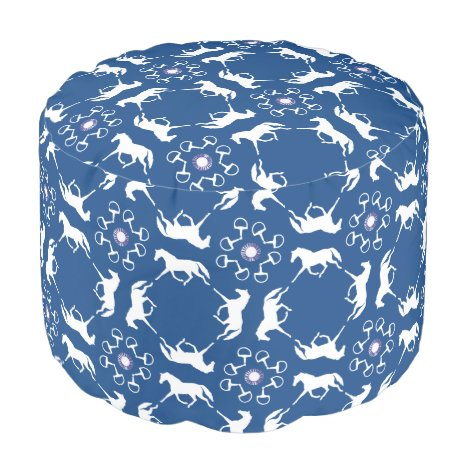 Pink Trotting Horses and Bits Pattern Pouf