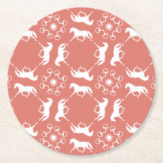 Pink Trotting Horses and Bits Pattern Round Paper Coaster