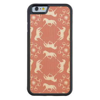 Pink Trotting Horses and Bits Pattern Carved® Maple iPhone 6 Bumper Case