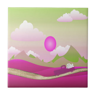 Pink Truck of White Hearts Driving on Road, Pink Tile