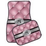 Pink Tufted Personalized Monogram Car Mats