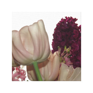 Pink Tulip And Purple Hyacinth Flowers Canvas Print