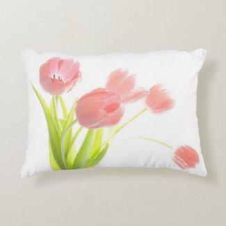 Pink Tulip Bouquet pillow