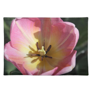 Pink tulip closeup cloth placemat