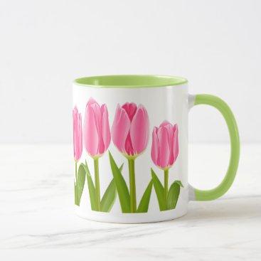 Coffee Themed Pink tulip coffee mug