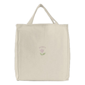 Pink Tulip Embroidered Carryall Embroidered Tote Bag