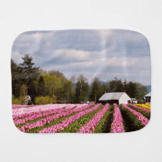 Pink Tulip Field Burp Cloths