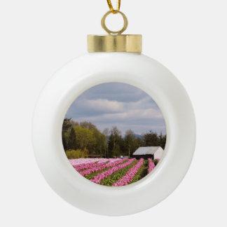 Pink Tulip Field Ceramic Ball Christmas Ornament