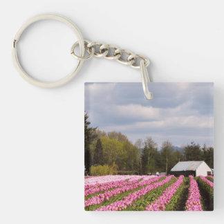 Pink Tulip Field Keychain