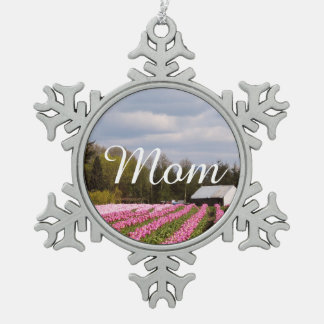 Pink Tulip Field Snowflake Pewter Christmas Ornament
