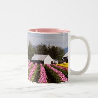 Pink Tulip Field Two-Tone Coffee Mug