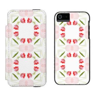 Pink Tulip Floral Geometric Kaleidoscope Pattern iPhone SE/5/5s Wallet Case