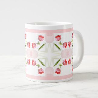 Pink Tulip Floral Geometric Kaleidoscope Pattern Large Coffee Mug