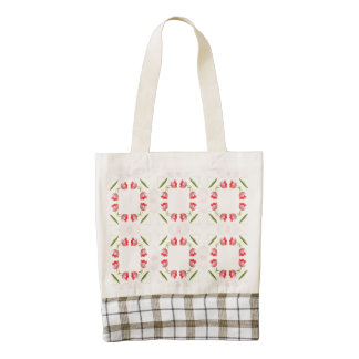Pink Tulip Floral Geometric Kaleidoscope Pattern Zazzle HEART Tote Bag