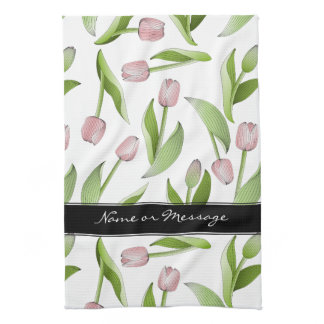 Pink Tulip Floral Patten Modern Chic Personalized Towel