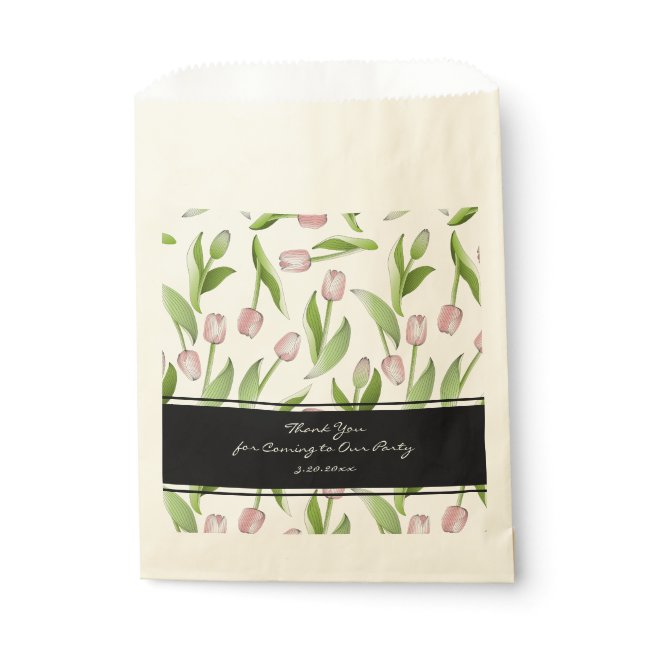 Pink Tulip Floral Patten Modern Chic Thank You