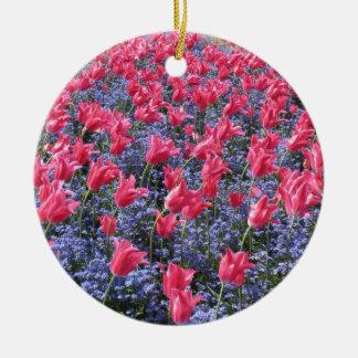 Pink tulip flower carpet ornament / door hang