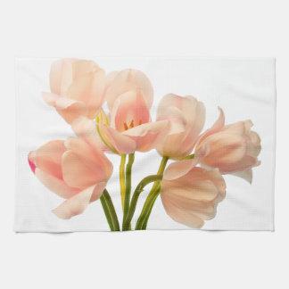 Pink Tulip Flower Peach Tulips White Floral Flower Kitchen Towel