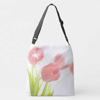 Pink tulip flower rockabilly white flower tote bag