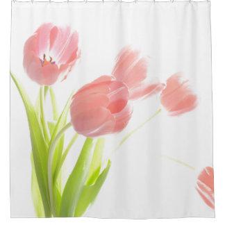 Pink tulip flower shower curtain