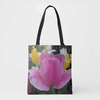 Pink Tulip Flower Tote Bag