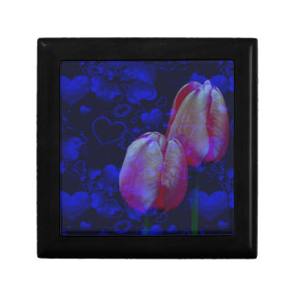 Pink Tulip Flowers Blue Hearts Floral Art Gift Box