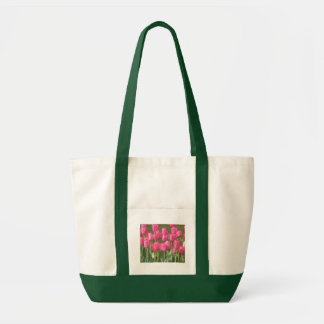 Pink Tulip Garden and Dark Green Canvas Bag