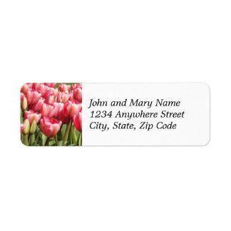 Pink Tulip Garden Floral Return Address Labels