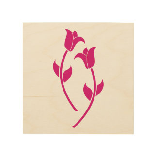 Pink Tulip Graphic Wood Print