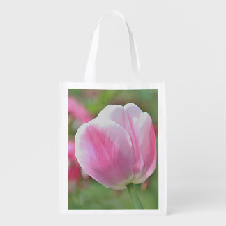 Pink tulip grocery bag